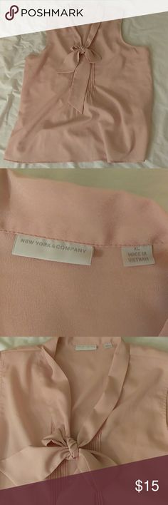 NY&CO. Tie neck blouse Pale pink new York & Company tie neck blouse. Never worn but has been washed before. New York & Company Tops