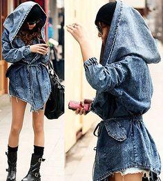 Fashion Women's Lady Denim Trench Coat Hoodie Outerwear Jean Hooded Jacket Cool | eBay