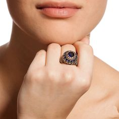 The Zerbap Deka Ring with Zircon Sapphire Stones by Rosestyle, $42.50
