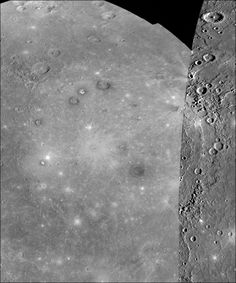 Two Views of Mercury  Date: 10 Dec 2009    This composite image of Mercury's Caloris basin was created with pictures from Mariner 10 (right portion) and MESSENGER images.      Last Update: 6 Apr 2011 (AMB)    Credit: NASA/Johns Hopkins University Applied Physics Laboratory/Carnegie Institution of Washington