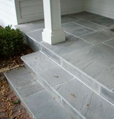 what about a lovely blue stone front stoop and the facade of the front stoop?