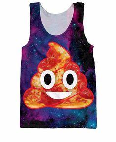 Pizza Space Poop Emoji Tank Top