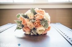 The bride`s stunning bouquet at a July wedding at Castle Hill Inn.  Image by Blueflash Photography.