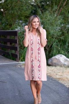 Embroidered Tie Top Dress