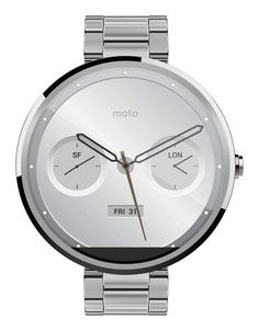 Motorola Moto 360 AndroidWear Smartwatch for Android Devices 4.3 or Higher - Natural Metal - 18mm