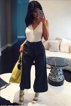 Kylie Jenner wearing Fendi 3jours Large Yellow Leather Croc Printed Shopper