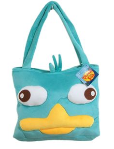 Green Plush Perry Face Tote Bag - Disney Phineas and Ferb Tote Travel Bag. Measures Aprox 13 x 10 Inches Made of Polyester Fibers Great for School Books, Traveling, and Can Be Used as a Large Purse .