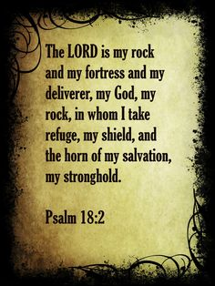 The LORD is my rock and my fortress and my deliverer, my God, my rock, in whom I take refuge, my shield, and the horn of my salvation, my stronghold (Psalm 18:2 ESV)