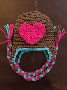 Baby Newborn Heart Crochet Hat with Braided Tassels love the colors!