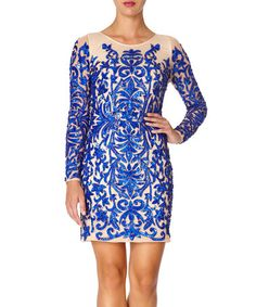 Look what I found on #zulily! Royal Blue & Beige Hollies Bodycon Dress #zulilyfinds