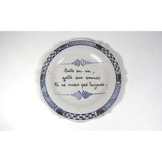 Antique French Country Plate with Maxim 1800s from Nevers ($150) ❤ liked on Polyvore featuring home, kitchen & dining, dinnerware, handpainted plates, handpainted dinnerware, blue plate, scalloped plates and blue dinnerware