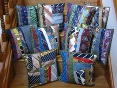 Oble's Tie Pillows I've been asked several times how I made these memory pillows, so it is high time I put together this tu. Tie Crafts, Fabric Crafts, Sewing Crafts, Crazy Quilting, Quilting Projects, Sewing Projects, Quilting Ideas, Necktie Quilt, Tie Pillows