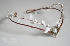 handmade wooland tiara , can be adjust on the back with a lace * made to order