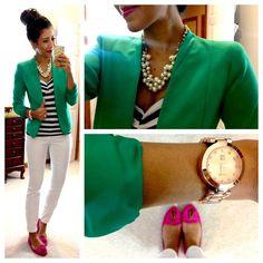 Green blazer, striped shirt, white pants, pink shoes