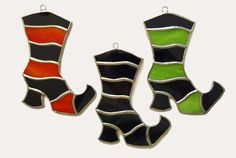 Handmade Stained Glass Witch's Boot Suncatcher by QTSG on Etsy
