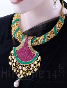 Necklace Jewellery Set with Gold Plating and Maroon and Green Stones
