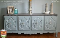 The Painted Drawer, https://www.facebook.com/ThePaintedDrawer?fref=ts, gave this buffet a beachy vibe with General Finishes Persian Blue Milk Paint and Winter White Glaze Effects. You can find your favorite GF products at Woodcraft, Rockler Woodworking stores or Wood Essence in Canada. You can also use your zip code to find a retailer near you at http://generalfinishes.com/where-buy#.UvASj1M3mIY.  #generalfinishes #gfmilkpaint #gfglazeeffects