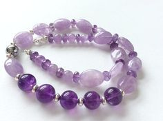 Purple and Lavender Amethyst with Sterling Silver Gem Necklace
