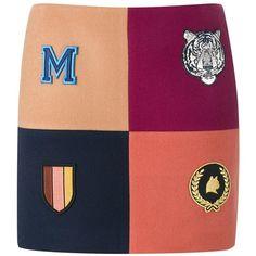 Stella McCartney 'Moana' melton mini skirt ($661) ❤ liked on Polyvore featuring skirts, mini skirts, multicolour, multi color skirt, red skirt, embroidered skirt, short mini skirts and short skirt