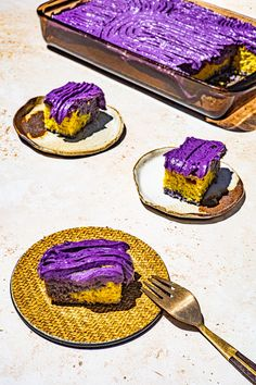 Ube Sheet Cake. Inspired by the Filipino Kakanin Sapin Sapin. The cake is filled with marbled ube, langka and coconut batter. It's then topped with this super easy but lush Ube Butter Mascarpone frosting.