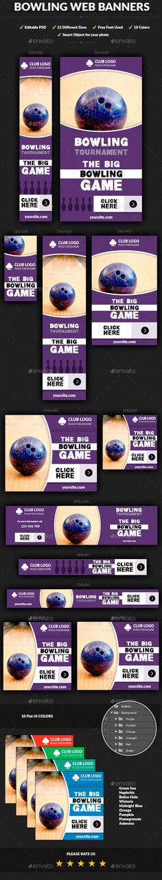 Bowling Web Banners - Banners & Ads Web Template PSD. Download here: http://graphicriver.net/item/bowling-web-banners/9723292?s_rank=1290&ref=yinkira