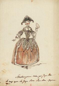 Costume de strasbourgeoise  Dessins et croquis de costumes pour les opéras représentés à Paris et à Versailles de 1739 à 1767  Louis-René Boquet (1717-1814).