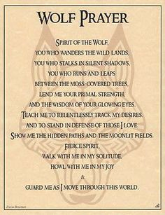 WOLF PRAYER POSTER A4 SIZE Wicca Pagan Witch Witch Goth BOOK OF SHADOWS