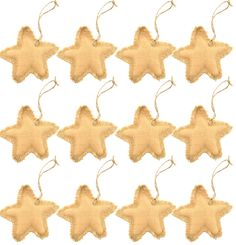 Firefly Craft Rustic Burlap Star Ornaments, Set of 12