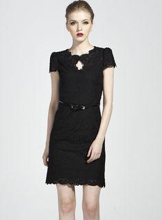Black Short Sleeve Belt Lace Bodycon Dress