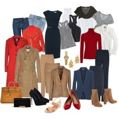 """""""5 piece French Wardrobe base"""" by ketutar on Polyvore (I changed the link to the article about the 5-piece French Wardrobe. If you wish to find this on Polyvore, it's in Ketutar's sets. Should be easy to find.)"""