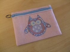 Pale Pink and Blue Owl Make Up Purse Pencil Case