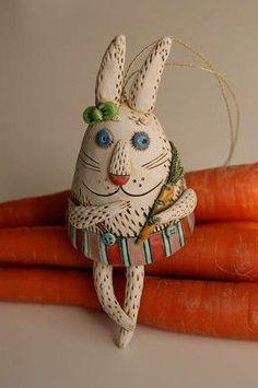 Ceramic Rabbit Bell handmade by Natalya Sots / www.natalyasots.com