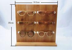 2015 Gafas de Moda gafas de Sol de Bambú Bastidores Soporte De Exhibición De Madera Estante Soporte Para 6 pares de gafas de Sol DS002