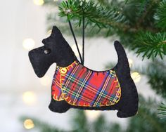 Scottie Dog Christmas Ornament, Angus, Blue tartan coat.
