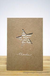 handmade thank you card ... kraft ... clean and simple ... negative space die cut star backed with white script embossed on kraft ... elegant look ...