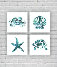 Sea Turtle Crab Starfish Sea shell silhouette watercolor Printable Wall Art Set of bathroom Deco Marine, Beach Room, Beach Wall Art, Decoration Inspiration, Decor Ideas, Decorating Ideas, Bathroom Art, Bathroom Ideas, Small Bathroom