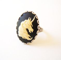 Unicorn Ring Adjustable Sterling Silver Ox Finish by BellaMantra, $17.00