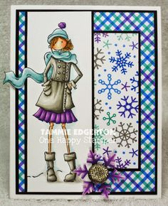 COPIC COLORING: SKIN: E11, E000, E0000, R30 HAIR: E57, E55, E53 JACKET, BOOTS: W6, W4, W2, W0 HAT, SCARF, SKIRT, SNOWFLAKE: BG72, BG70, V17, V15, V12 SHADOW: SKY: BG70 - Details are on my blog. (SB; Stamping Bella; Uptown Girl Quinn and Her Boots)