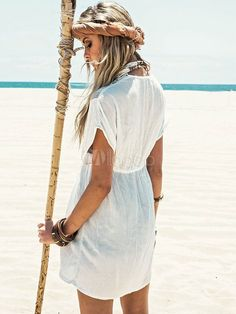 45efd21976 White Cover Up Semi-Sheer Chic Cotton Cover Up for Women  Semi