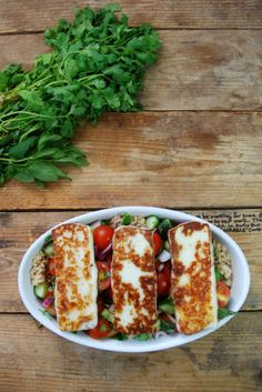 Halloumi Mediterranean Salad with whole wheat cous cous
