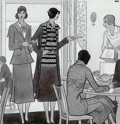 Women at brunch wearing ensembles by Chanel.  Illustrated by Robert Patterson for Vogue November 1929