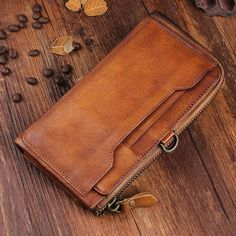 Overview: Design: Handmade Leather Mens Cool Long Leather Wallet Bifold Clutch Wallet for MenIn Stock: Ready to Ship days)Include: Only WalletCustom: NoCo Mens Long Leather Wallet, Leather Wallet Pattern, Handmade Leather Wallet, Leather Chain, Wallet Chain, Long Wallet, Biker Leather, Leather Men, Leather Belts