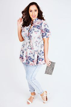 Blue & Pink Floral Print Longline Top With Ruched Waist & Zip Front