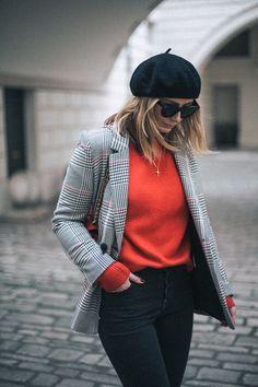Emma Hill wears black beret, checked blazer, celine sunglasses, red jumper, black jeans, parisian chic style