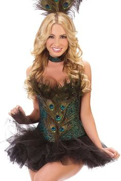 Amazon.com: Good Quality Peacock Feather Corset Top Halloween Party Sexy Costume for Women: Clothing