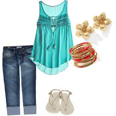 A fashion look from January 2012 featuring blue tank top, denim trousers and thong sandals. Browse and shop related looks. Beach Attire, Beach Day, Spring Summer, Shorts, My Style, Sweet, Cute, How To Wear, Closet