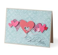 With Love card by Stampin' Up ~ nice combinaton of prints and levels. Especially like the punched heart tied with string :-)