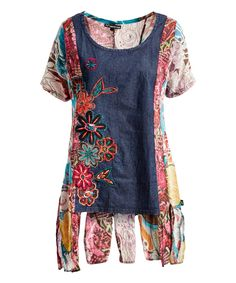 Take a look at this Blue Contrast Sidetail Tunic - Plus Too today!