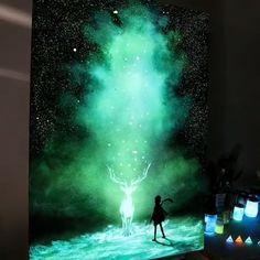 Like 364 times 4 Comments Best Art Tutorials (Karri Best. Harry Potter Kunst, Harry Potter Painting, Harry Potter Sketch, Harry Potter Drawings, Spray Paint Art, Spray Painting, Wow Art, Galaxy Art, Magic Art