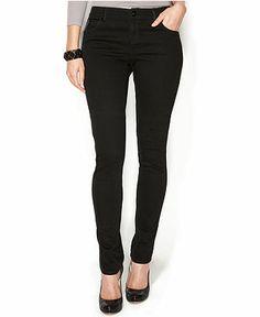 INC International Concepts Petite Skinny Faux-Leather-Trim Jeans, Black/Indigo Wash - INC International Concepts - Women - Macy's